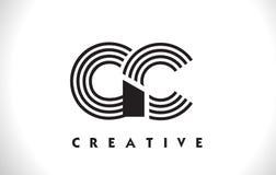 Progettazione di Logo Letter With Black Lines di GASCROMATOGRAFIA Linea vettore Illus della lettera Illustrazione di Stock