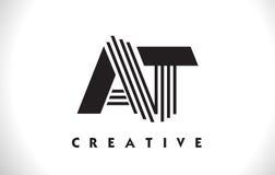 A progettazione di Logo Letter With Black Lines Linea vettore Illus della lettera Fotografia Stock Libera da Diritti