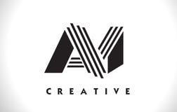 Progettazione di Logo Letter With Black Lines Linea vettore Illus della lettera Fotografia Stock Libera da Diritti