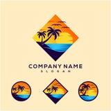 Progettazione di logo di tramonto per il logo di viaggio royalty illustrazione gratis