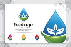 Progettazione di logo di vettore della goccia di acqua con il concetto moderno di colore, acqua minerale fresca di simbolo dell'i immagine stock