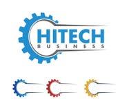 Progettazione di logo di vettore per l'affare automobilistico, industria tecnica, manutenzione dell'automobile, motore astuto di  illustrazione vettoriale