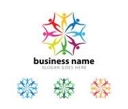 Progettazione di logo di vettore di risultato di successo del capo di organizzazione della Comunità illustrazione di stock