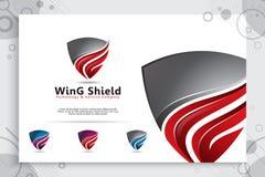 progettazione di logo di vettore di tecnologia dello schermo 3d con il concetto moderno, simbolo astratto dell'illustrazione di s immagine stock libera da diritti