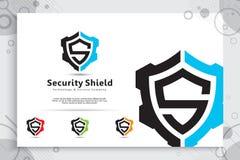 Progettazione di logo di vettore di tecnologia dello schermo di sicurezza con il concetto moderno, simbolo astratto dell'illustra fotografie stock