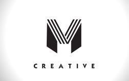Progettazione di m. Logo Letter With Black Lines Linea vettore Illust della lettera Immagine Stock