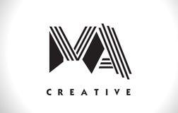 Progettazione di mA Logo Letter With Black Lines Linea vettore Illus della lettera Immagini Stock