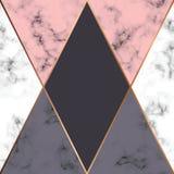 Progettazione di marmo con le linee geometriche dorate, superficie di marmorizzazione in bianco e nero, fondo lussuoso moderno di royalty illustrazione gratis