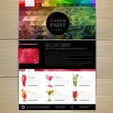 Progettazione di massima del cocktail dell'acquerello Template corporativo per le illustrazioni di affari Progettazione del sito  Immagine Stock Libera da Diritti