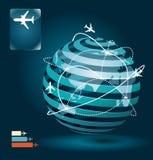 Progettazione di massima della rete dei collegamenti dell'aeroplano di Infographic Immagine Stock
