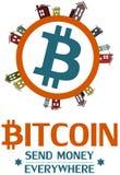 Progettazione di massima di logo di Bitcoin Fotografia Stock Libera da Diritti