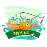 Progettazione di massima di pesca, illustrazione di vettore Fotografia Stock Libera da Diritti