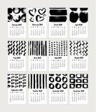 Progettazione di massima 2019 disegnata a mano del calendario Illustrazione di vettore immagine stock
