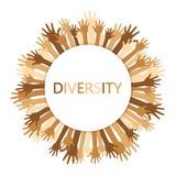 Progettazione di massima di diversità, mani su con testo illustrazione di stock