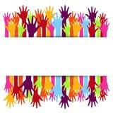 Progettazione di massima di diversità, mani su e giù illustrazione vettoriale
