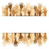 Progettazione di massima di diversità, mani su e giù con testo illustrazione di stock