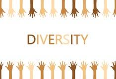 Progettazione di massima di diversità, mani su e giù con testo royalty illustrazione gratis