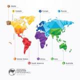 Progettazione di massima geometrica di infographics dell'illustrazione della mappa di mondo. Fotografia Stock