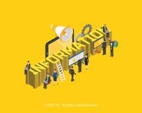 Progettazione di massima isometrica piana di informazioni dell'illustrazione 3d, stile moderno urbano astratto, serie di affari d Fotografie Stock Libere da Diritti