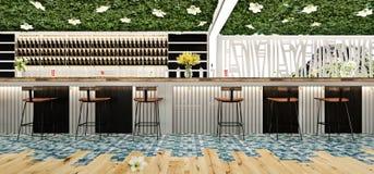 Progettazione di massima moderna della barra del salotto di cocktail della spiaggia Fotografia Stock