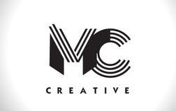 Progettazione di MC Logo Letter With Black Lines Linea vettore Illus della lettera Fotografia Stock