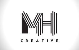 Progettazione di MH Logo Letter With Black Lines Linea vettore Illus della lettera Immagine Stock Libera da Diritti