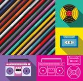 Progettazione di musica di deco di Pop art, giranastri e radio illustrazione vettoriale