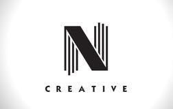 Progettazione di N Logo Letter With Black Lines Linea vettore Illust della lettera Fotografia Stock Libera da Diritti