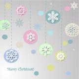 Progettazione di Natale con i fiocchi di neve decorativi Fotografia Stock Libera da Diritti
