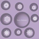 Progettazione di Natale con i fiocchi di neve decorativi Immagini Stock Libere da Diritti