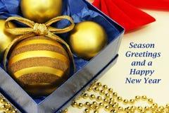 Progettazione di Natale con i saluti di festa Fotografia Stock