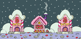 Progettazione di Natale con le case leggiadramente in neve Immagine Stock