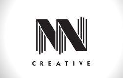 Progettazione di NN Logo Letter With Black Lines Linea vettore Illus della lettera Fotografie Stock