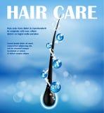 Progettazione di nutrizione degli annunci dello sciampo dei capelli Estremità di concetto che spacca prevenzione Sciampo di cura  illustrazione di stock