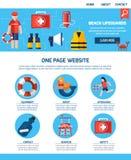 Progettazione di One Page Website della guardia di vita illustrazione di stock