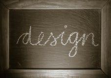 Progettazione di parola del testo scritta a mano sul concetto di arte della lavagna Fotografie Stock