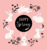 Progettazione di Pasqua con il coniglietto ed il testo svegli, illustrazione disegnata a mano Fotografia Stock