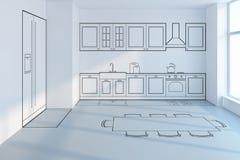 Progettazione di pianificazione della cucina Fotografie Stock