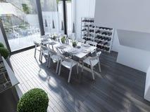 Progettazione di pranzare alta tecnologia con la finestra panoramica Immagine Stock Libera da Diritti