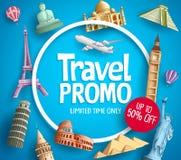 Progettazione di promozione dell'insegna di vettore di promo di viaggio con le destinazioni turistiche illustrazione di stock