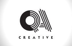 Progettazione di QA Logo Letter With Black Lines Linea vettore Illus della lettera Fotografia Stock