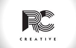 Progettazione di RC Logo Letter With Black Lines Linea vettore Illus della lettera Fotografie Stock