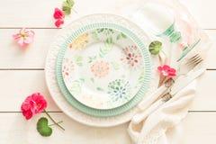 Progettazione di regolazione di Pasqua, della molla o della tavola di estate da sopra fotografia stock libera da diritti