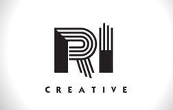Progettazione di RI Logo Letter With Black Lines Linea vettore Illus della lettera Fotografia Stock