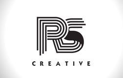 Progettazione di RS Logo Letter With Black Lines Linea vettore Illus della lettera Fotografia Stock