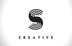 Progettazione di S Logo Letter With Black Lines Linea vettore Illust della lettera Immagine Stock Libera da Diritti