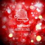 Progettazione di saluto di festa di Buon Natale con Santa Fotografia Stock
