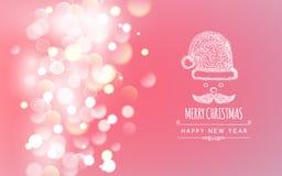 Progettazione di saluto di festa di Buon Natale con Santa Fotografia Stock Libera da Diritti