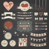 Progettazione di San Valentino ed insieme di elementi della decorazione Immagine Stock Libera da Diritti