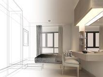 Progettazione di schizzo del salone interno Immagini Stock